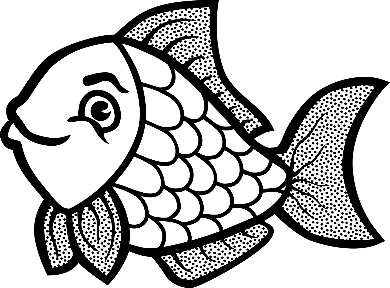 Fish clip art coloring page. Easy colouring template pag