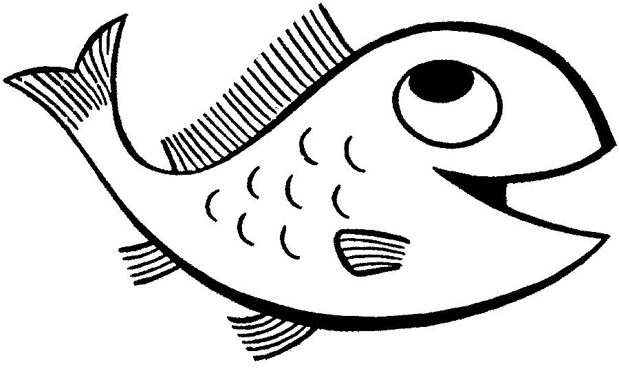 Printable free pictures pages. Fish clip art coloring page transparent stock