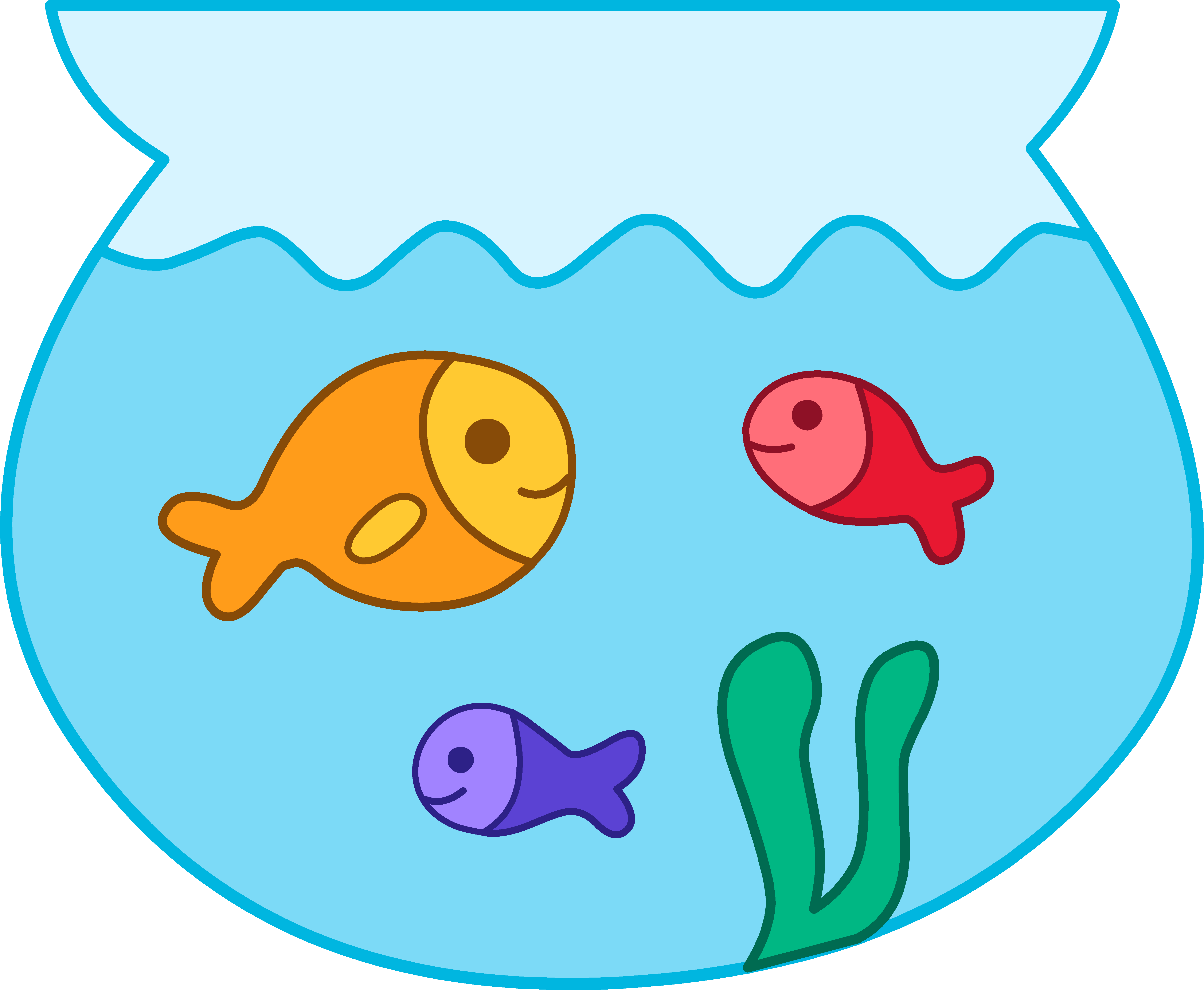 Cute fish clip art. Fishbowl clipart banner black and white stock