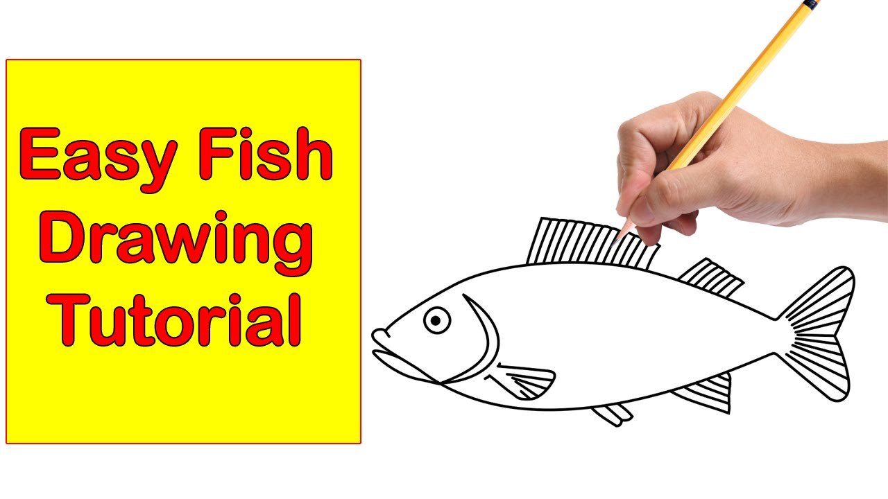Fish clip art easy. Drawing tutorial how to