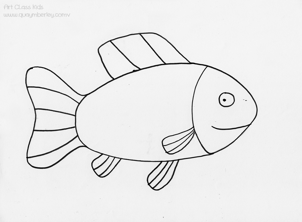 Fish clip art easy. Black and white drawing