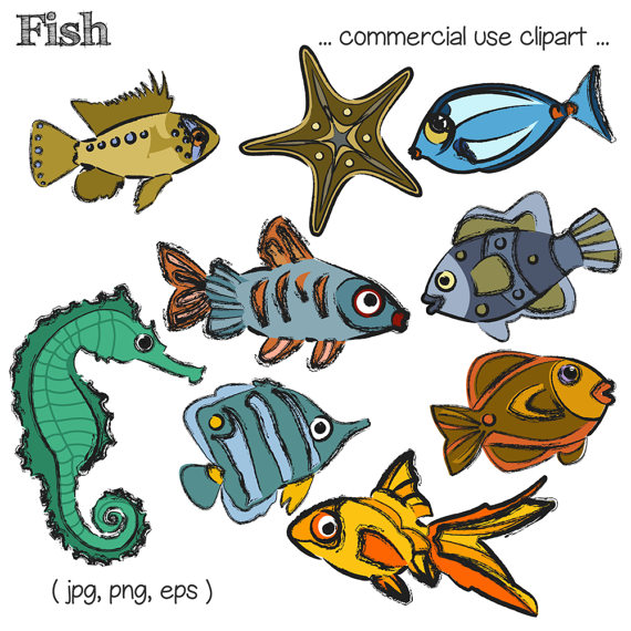 Fish clip art goldfish. Sketched with color clipart