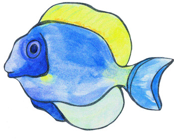 Fish clip art realistic. Color black line and
