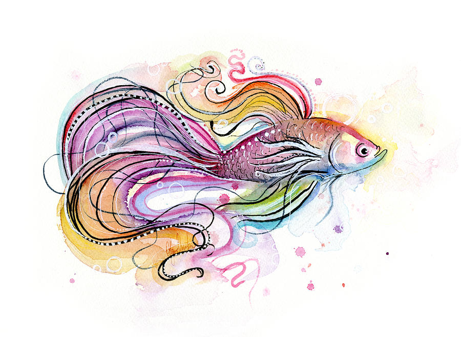 Betta painting by olga. Fish clip art watercolor clip black and white