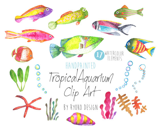 Fish clip art watercolor. Tropical watercolour hand painted