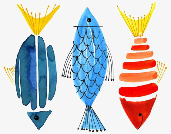 Fish clip art watercolor. Animal graffiti png image