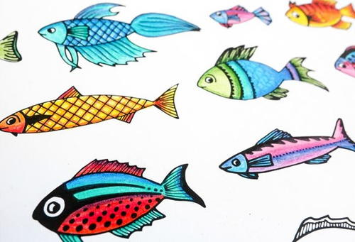 Fish clip art whimsical. Printable coloring page allfreepapercrafts