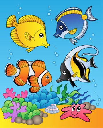 Fish clip art whimsical. Four fishes l mina
