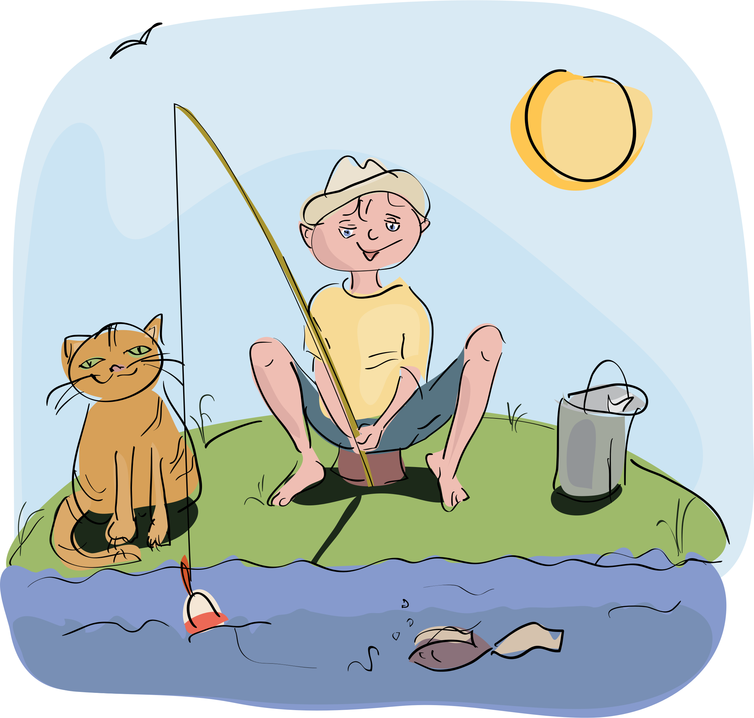 Cat clipart fishing. Best hd boy and