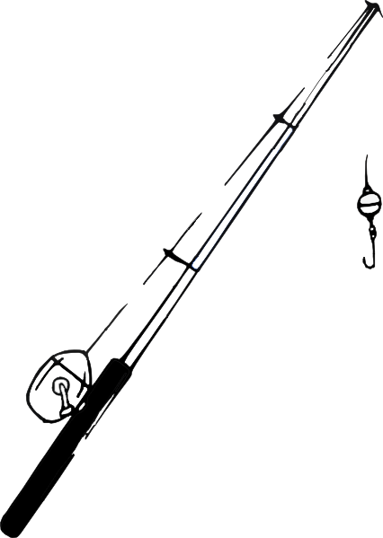 Fishing pole clipart png. B and w clip