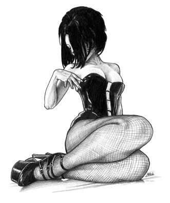 Fishnet transparent draw. Drawn in pencil with
