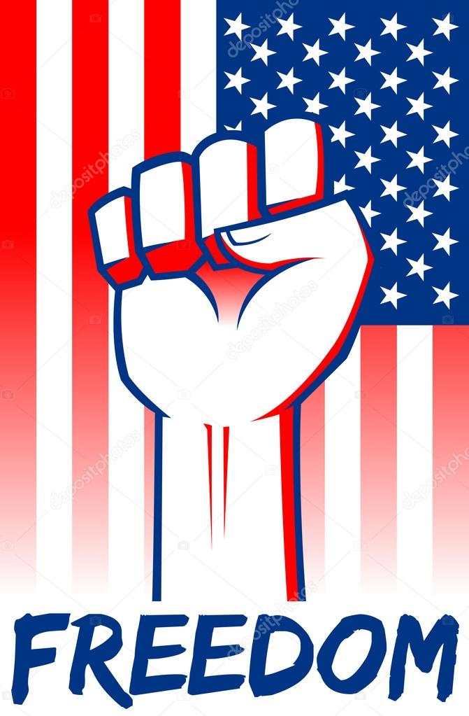 Freedom Clenched Fist With American Flag Background — Stock Vector ...