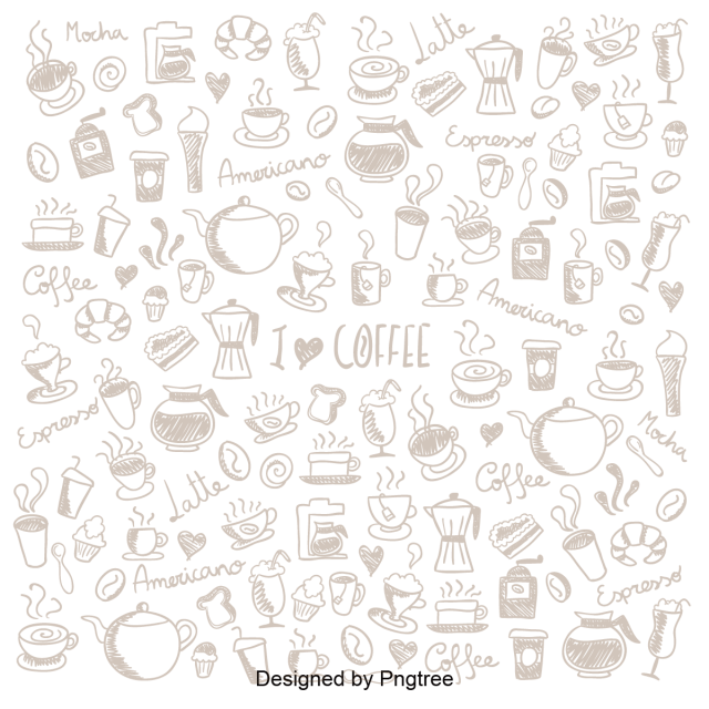 Vector doodle pattern. Cartoon hand painted coffee