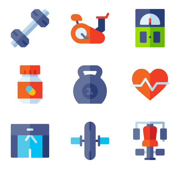 Fitness icons free gym. Vector trains electric picture freeuse stock