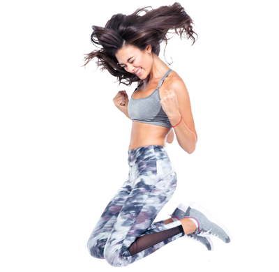 Fitness girl png. High country fit jumping