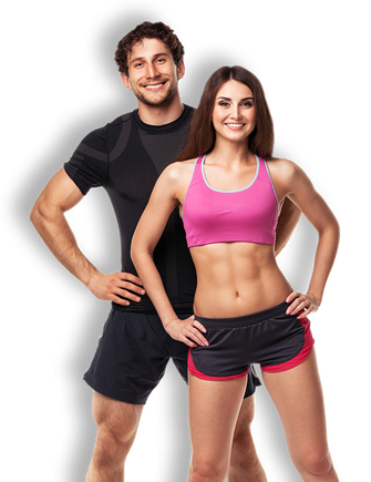 Fitness man and woman png. Be martial arts fit