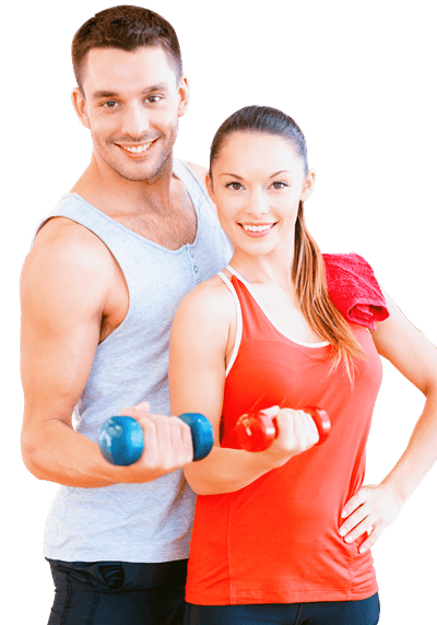 Fitness man and woman png. Body soul health club