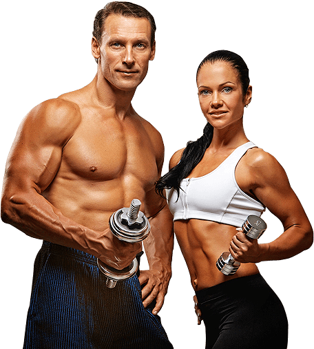 Fitness man and woman png. Infinite labs fitnessman