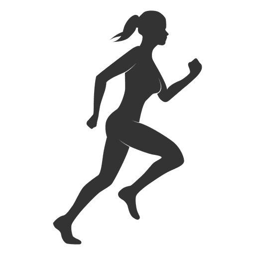Fitness silhouette png. Woman run transparent svg