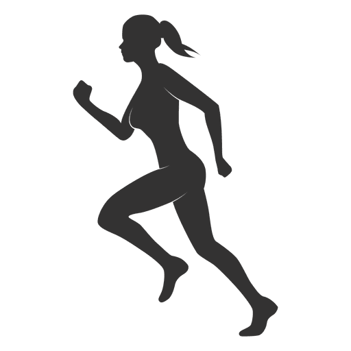 Fitness vector png. Woman silhouette running transparent