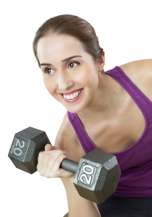 Fitness women dumb bell png. Young fit woman exercises