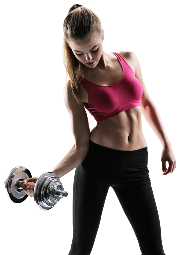 Fitness women dumb bell png. Beautiful young woman with