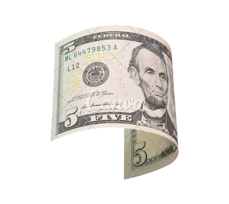 Five dollar bill png. Flying dollars photos by