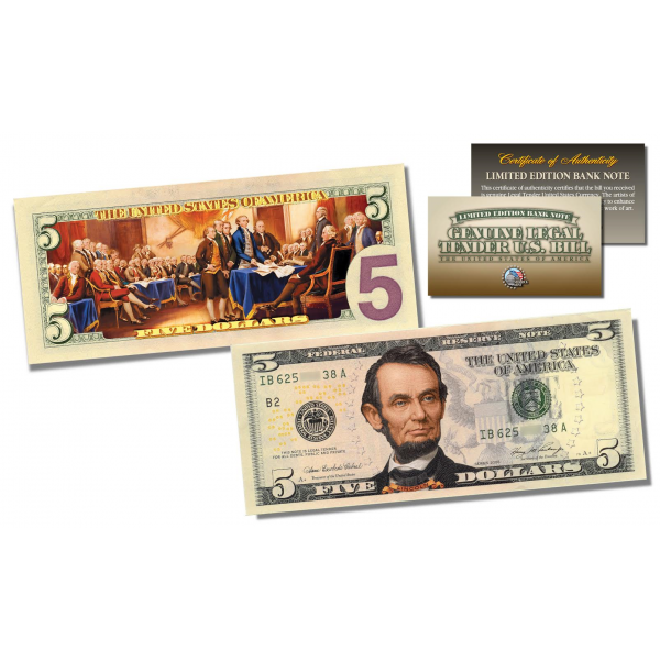 Five dollar bill png. Sided colorized genuine