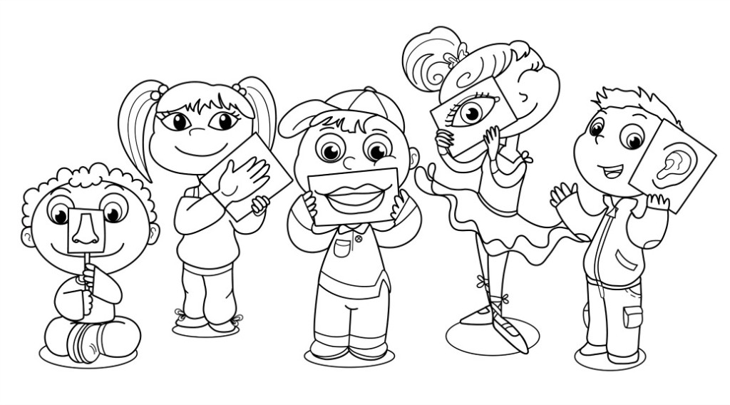 Five senses clipart coloring page. Pages free many