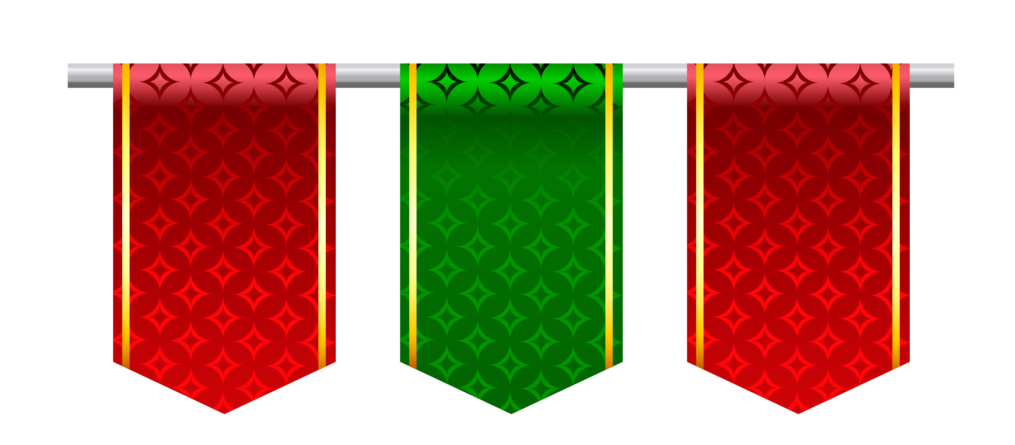 Banner flags png. Red and green clipart