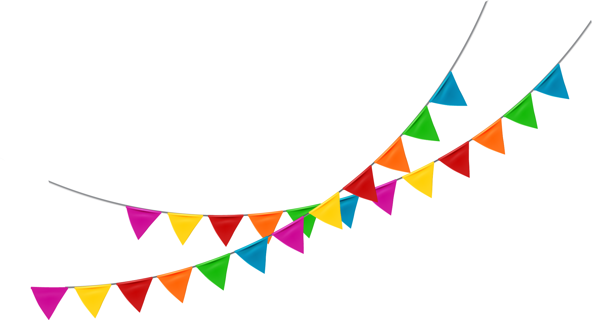 Flag banner png. Pennon bunting color cartoon