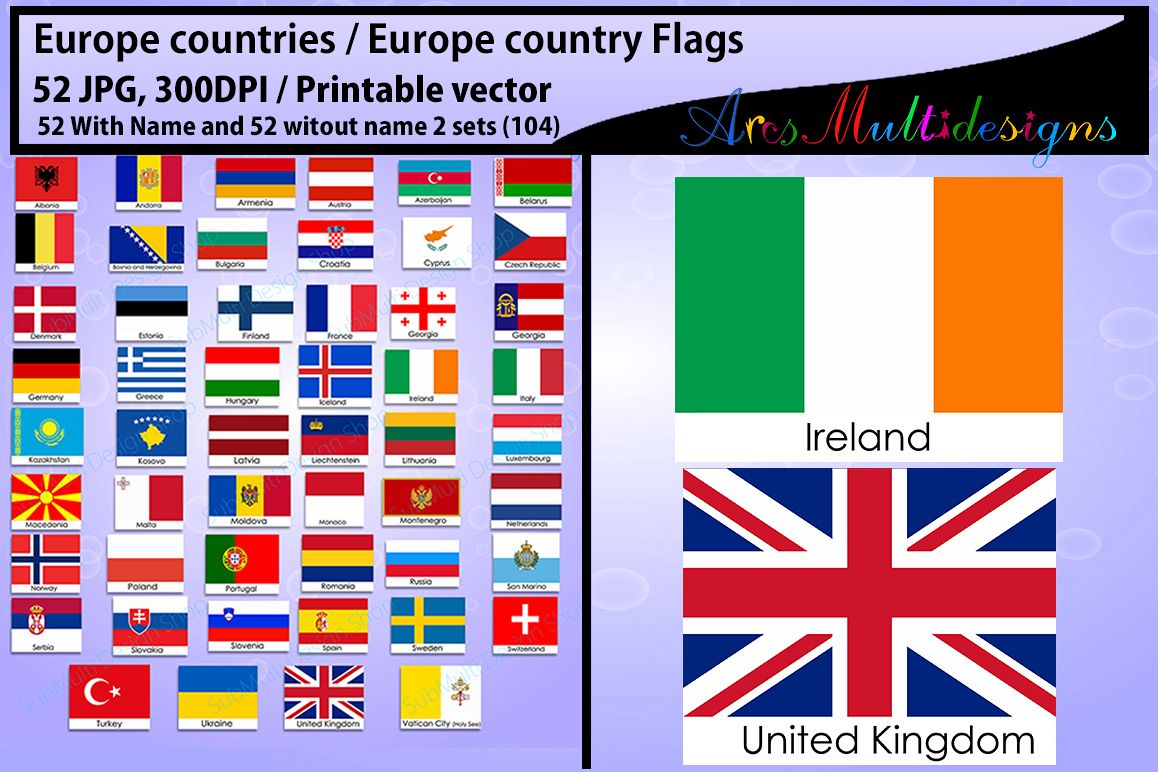 Europe countries country flags. Flag clipart printable graphic black and white download