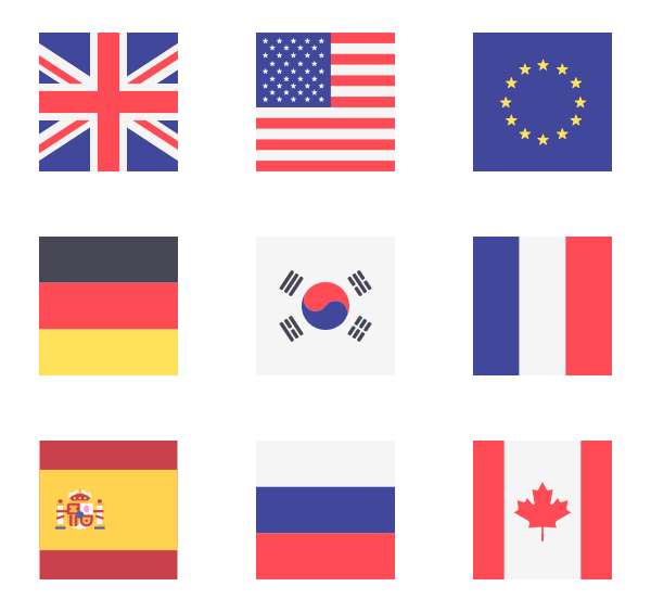 Icon family square vector. Svg flags vector black and white library