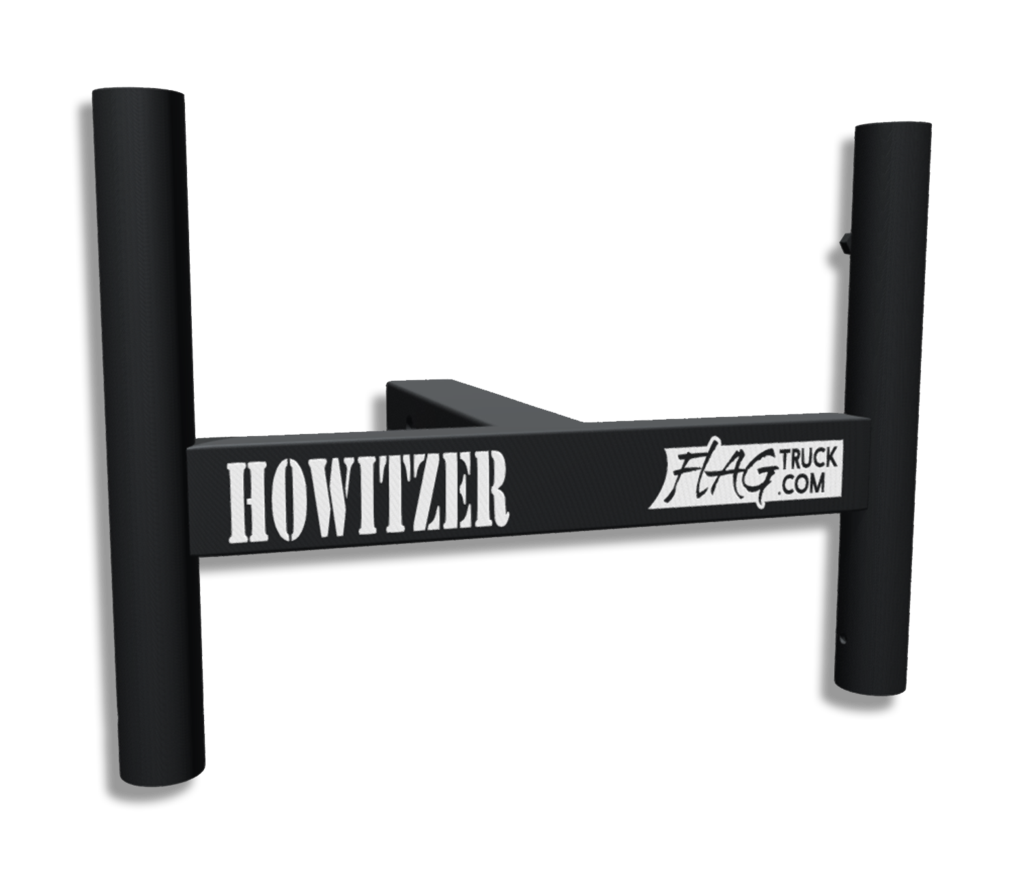 Flagpole clip homemade trailer hitch. Howitzer double pole flag