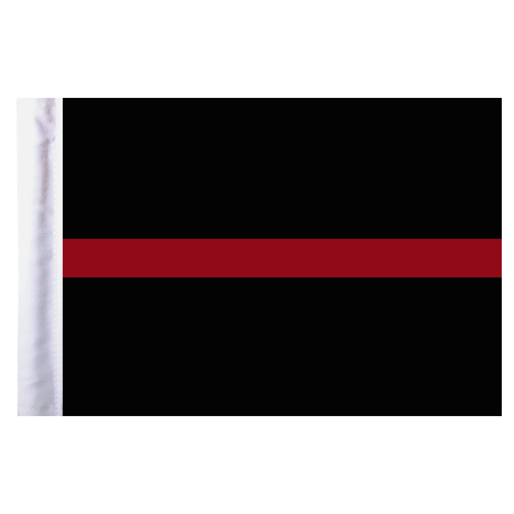 Flagpole clip motorcycle. Thin red line flag