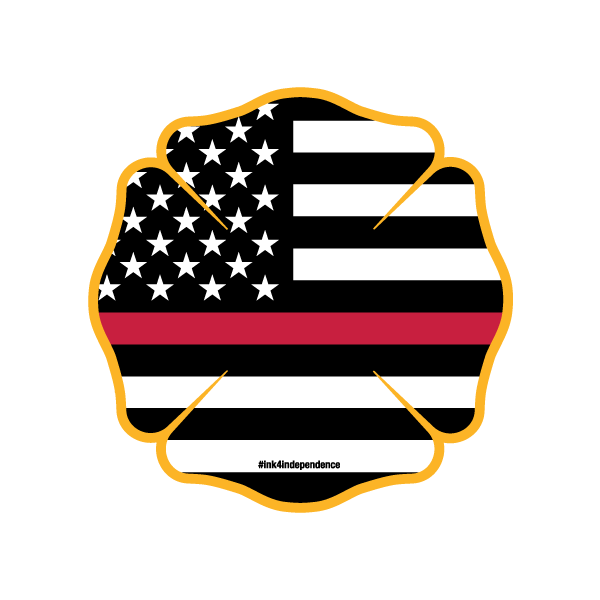 Flags clipart thin red line. American flag fd shield