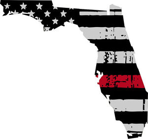 Flags clipart thin red line. Decal state of florida
