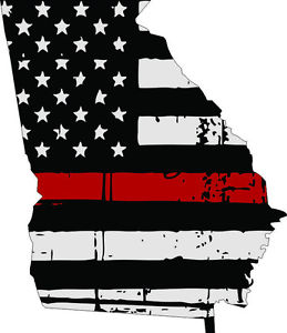 Flags clipart thin red line. Decal state of georgia