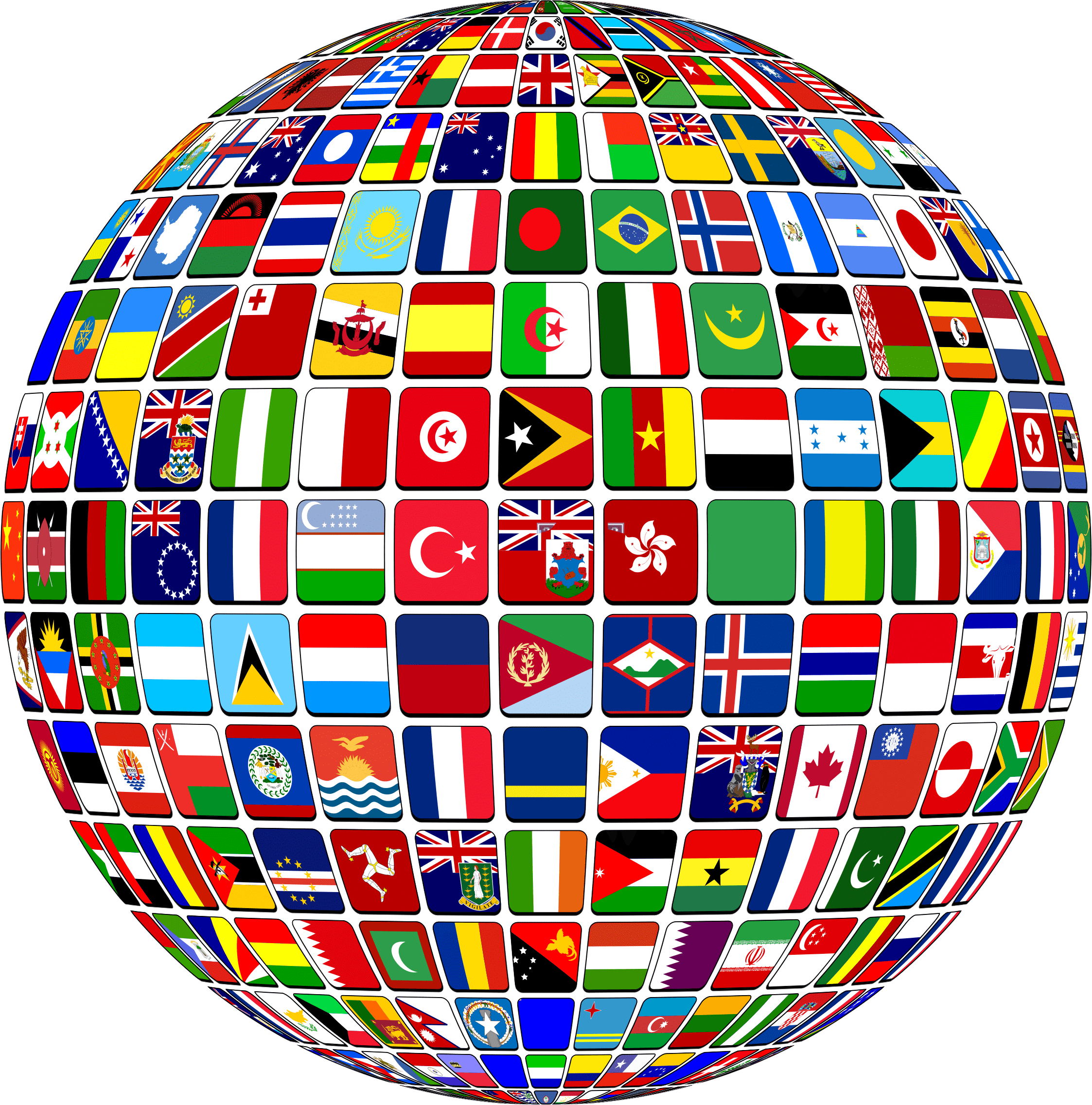 Flags of the world png. Globe transparent stickpng