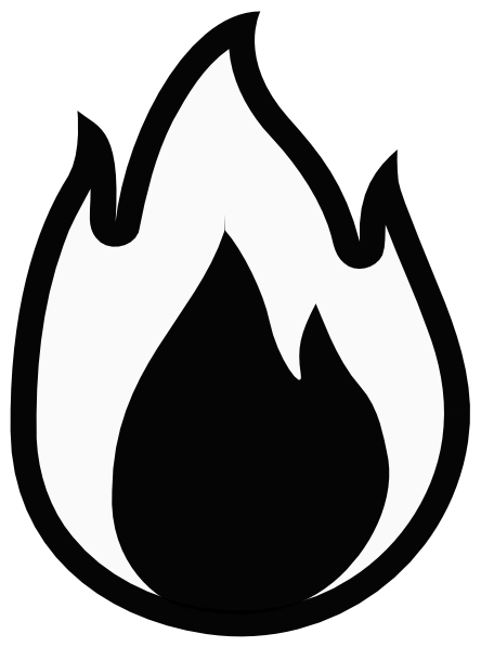 Black and white contrast. Flame clipart silhouette picture royalty free