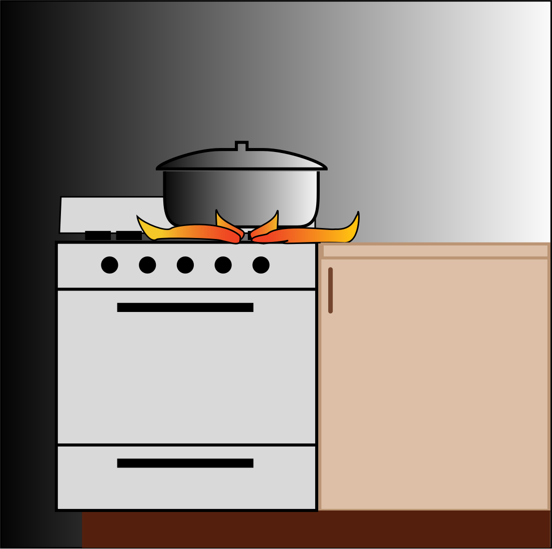 Flames clipart stove fire. Pot on big image
