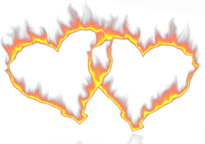 Flaming heart png. In flames psd