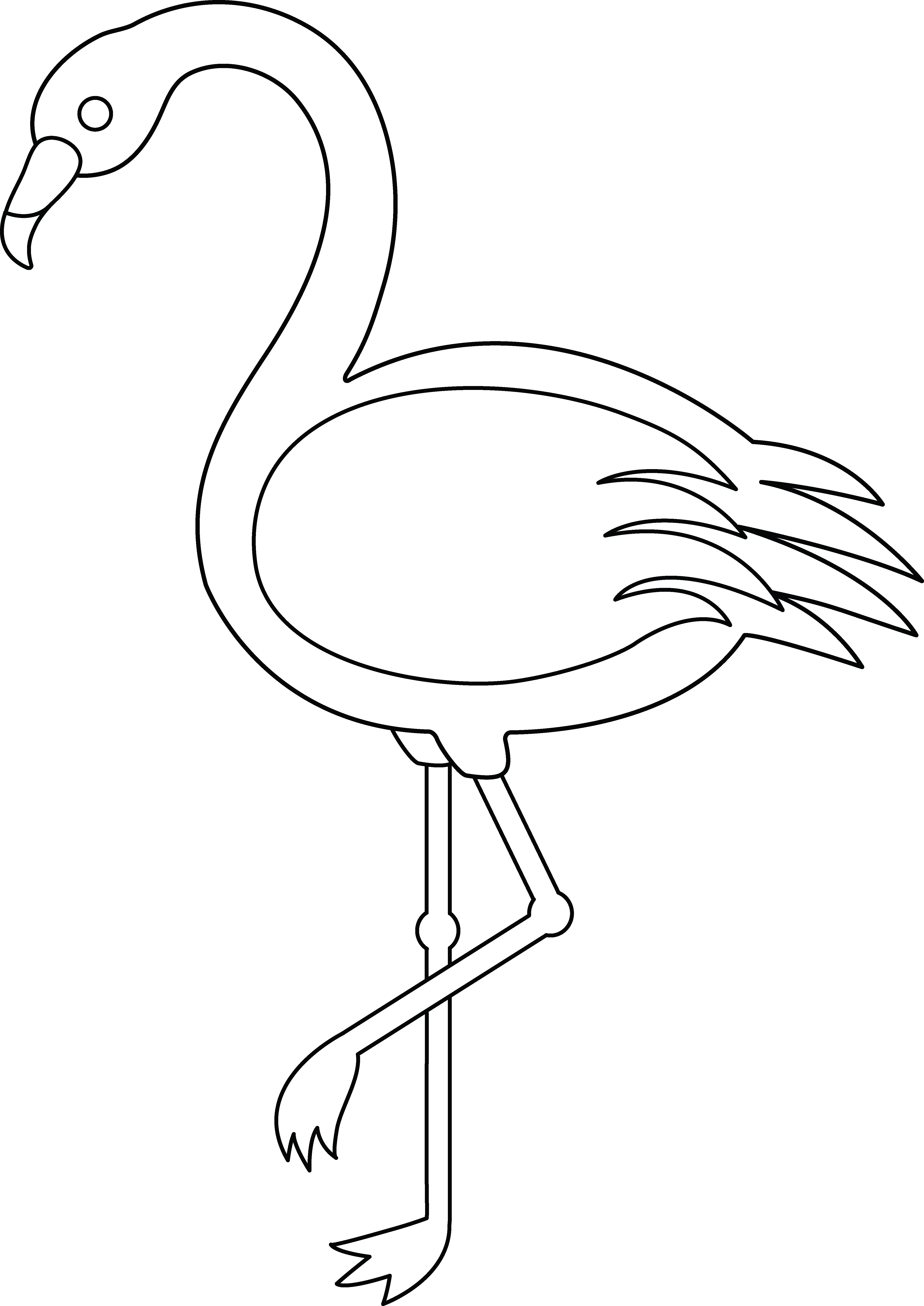 Flamingo clip line drawing. Colorable free art coloring