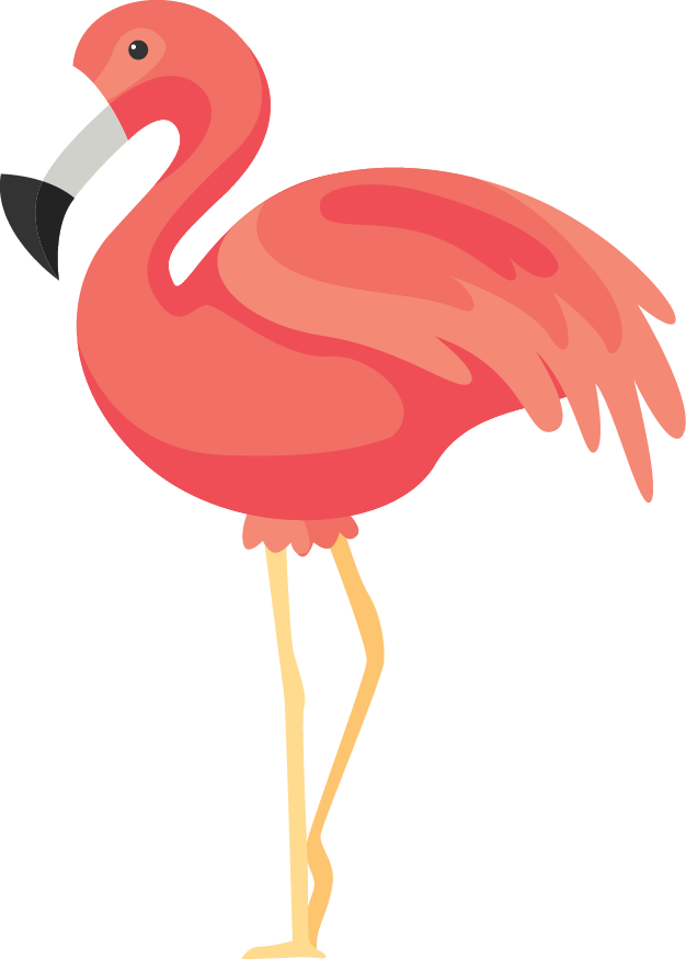 Flamingo clip face. Flamingos rendering icon transprent