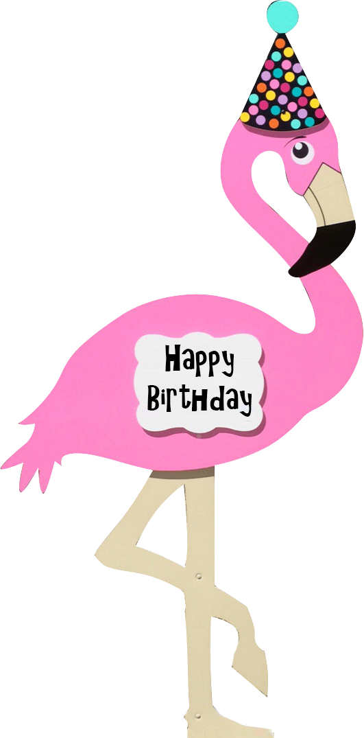 Flamingo clip happy. Kids birthday yard signs