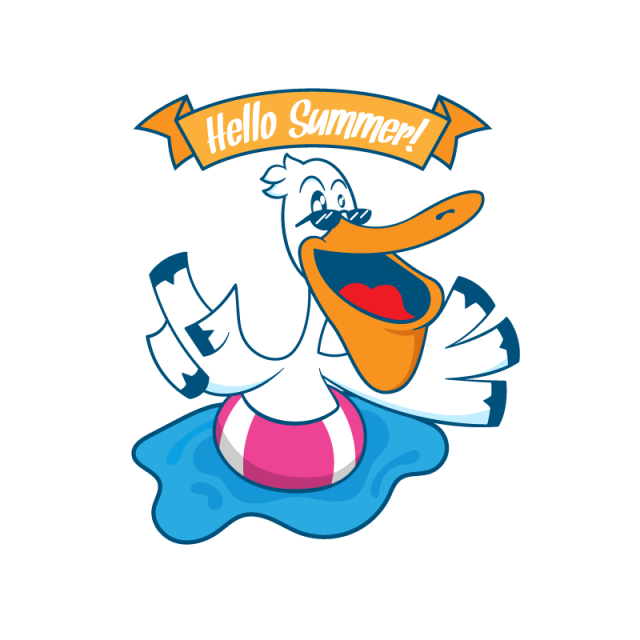 Relaxing clipart summer. Bird on inflatable float