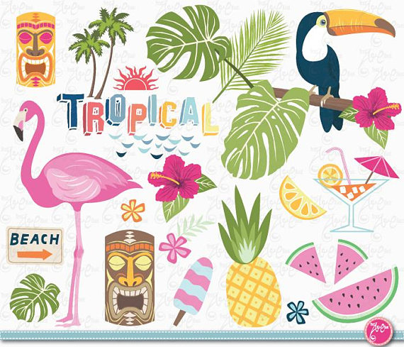 Tropical clipart tropical party. Clip art summer pack