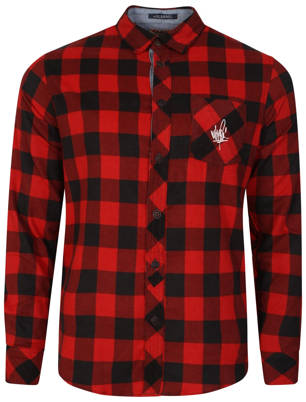 Flannel transparent green. Ms red to black