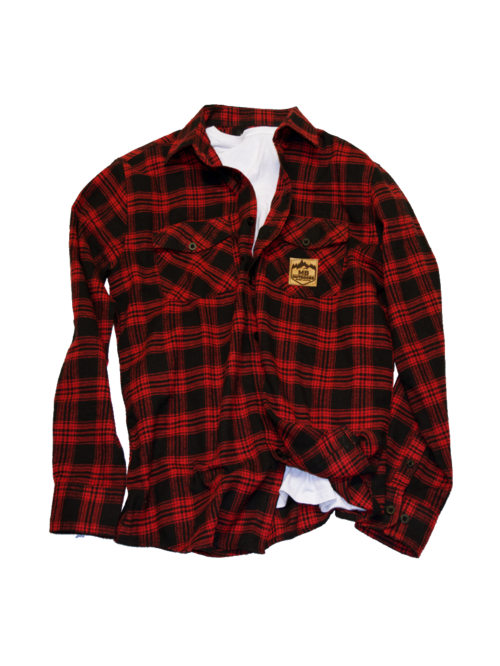 Flannel transparent red. Mb leather logo outdoors