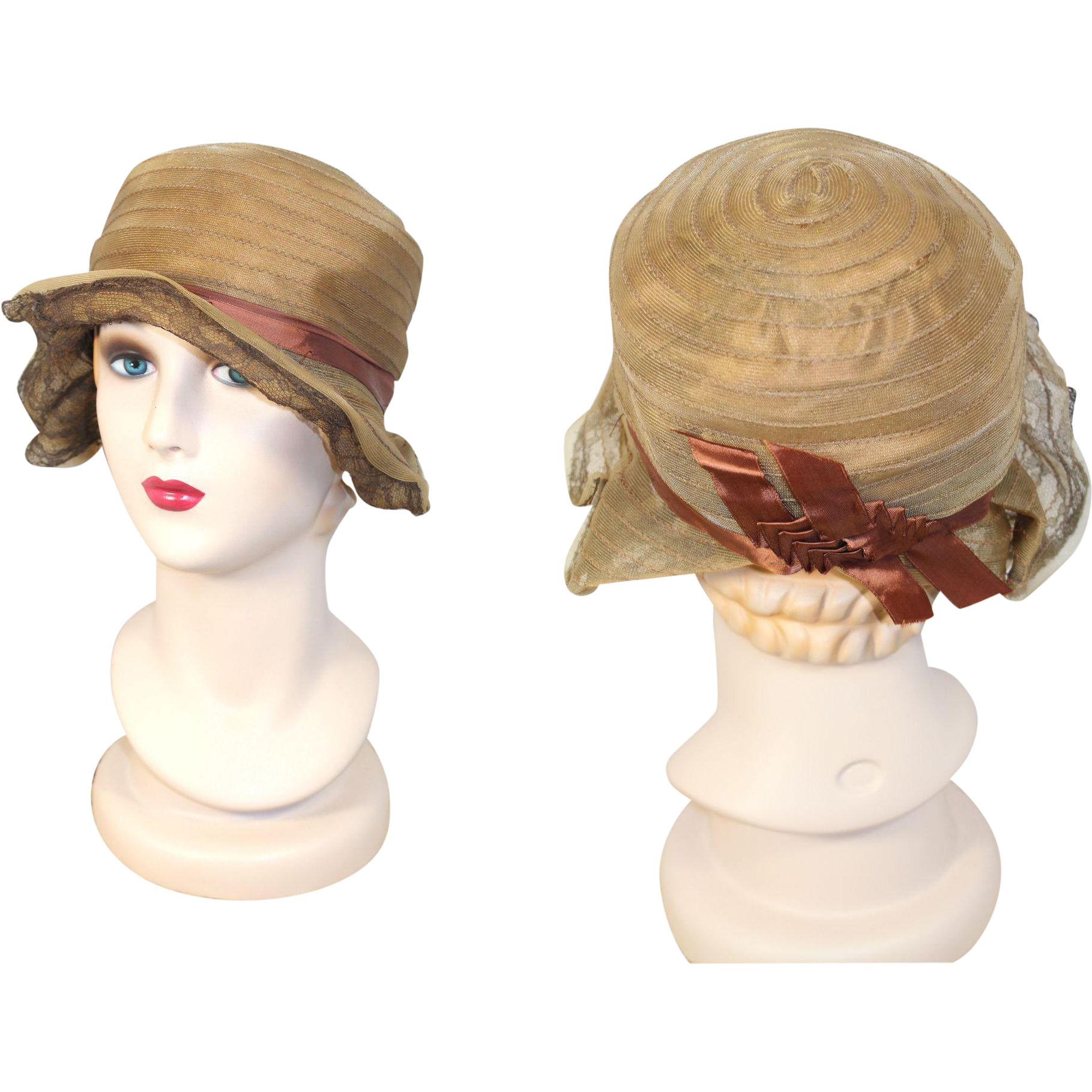Flappers drawing cloche hat. S sheer gold